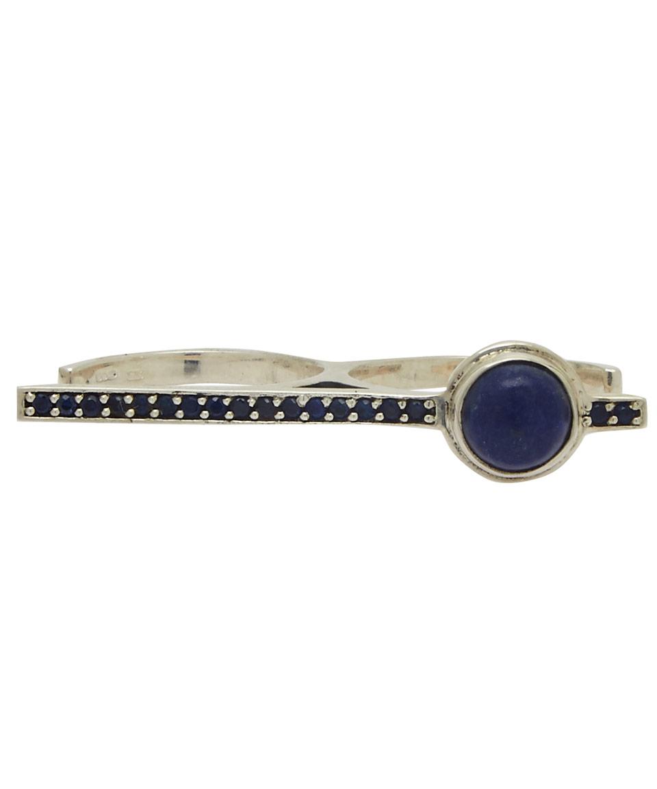 Pamela Love Silver Lapis Lazuli Telepathy Double Ring in Metallic