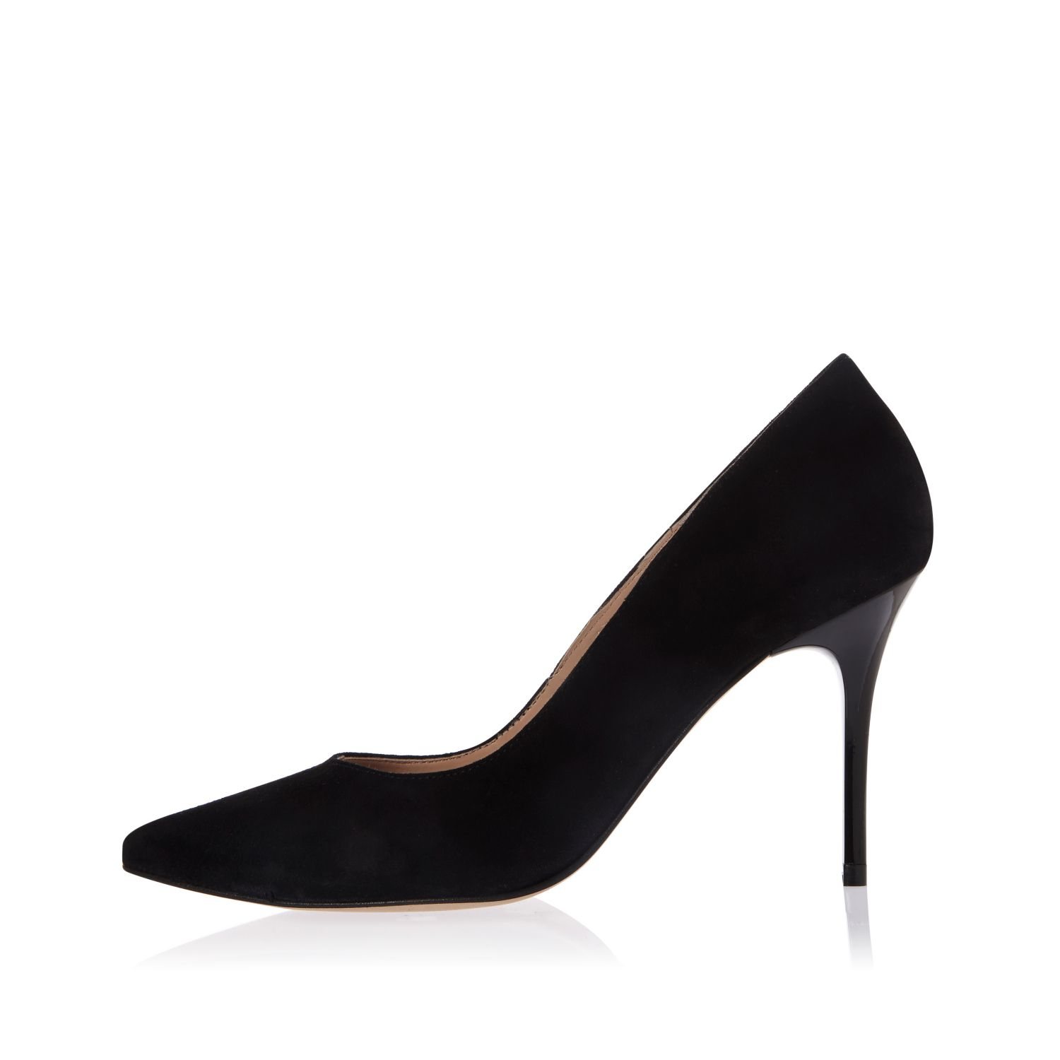 2dbc3b9176e8c River Island Black Suede Pointed Mid Heel Court Shoes in Black - Lyst