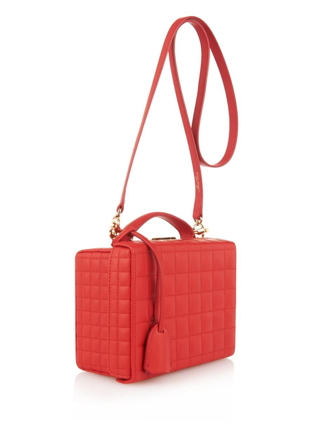Mark Cross Grace Small Quilted Leather Box Bag In Red Lyst
