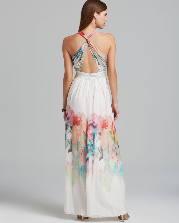 Nicole miller Gown Chiffon Print Empire   Lyst