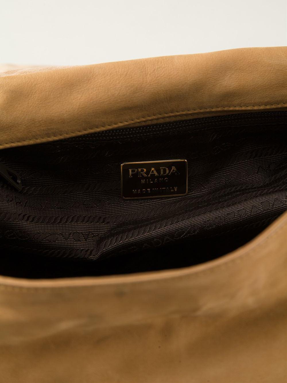 Prada Embossed-Logo Leather Shoulder Bag in Beige (nude \u0026amp; neutrals ...