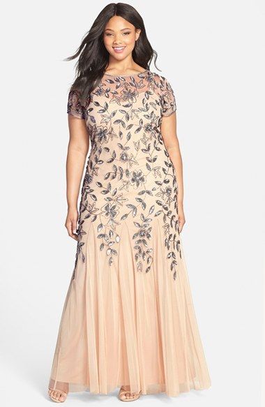 Adrianna Papell Floral Beaded Godet Gown In Taupe Pink