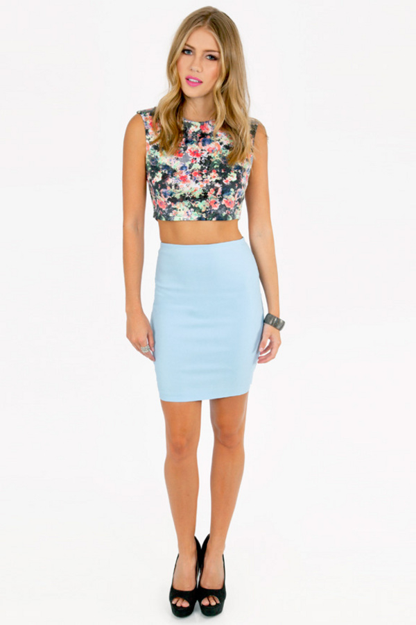 tobi betta basic bodycon skirt in blue light blue lyst