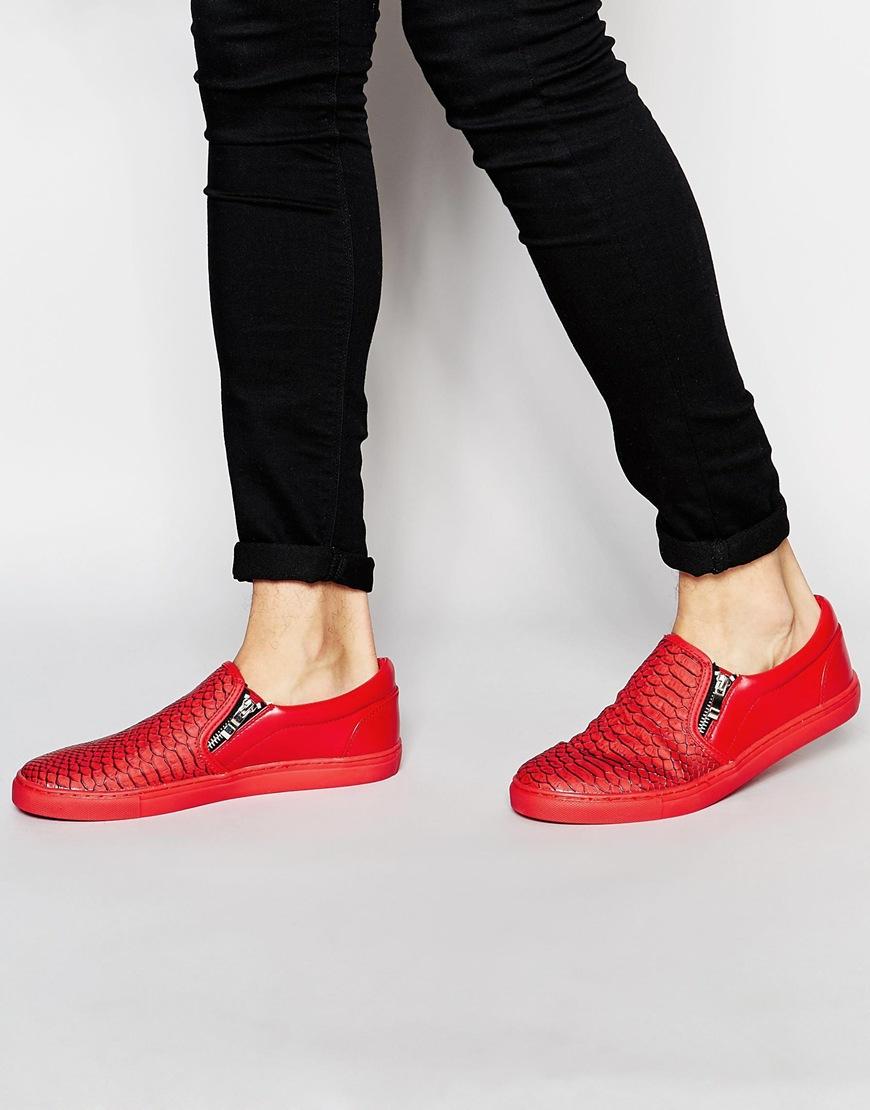 70b626c3e94 ASOS Slip On Plimsolls In Red Snakeskin Effect With Zips for men