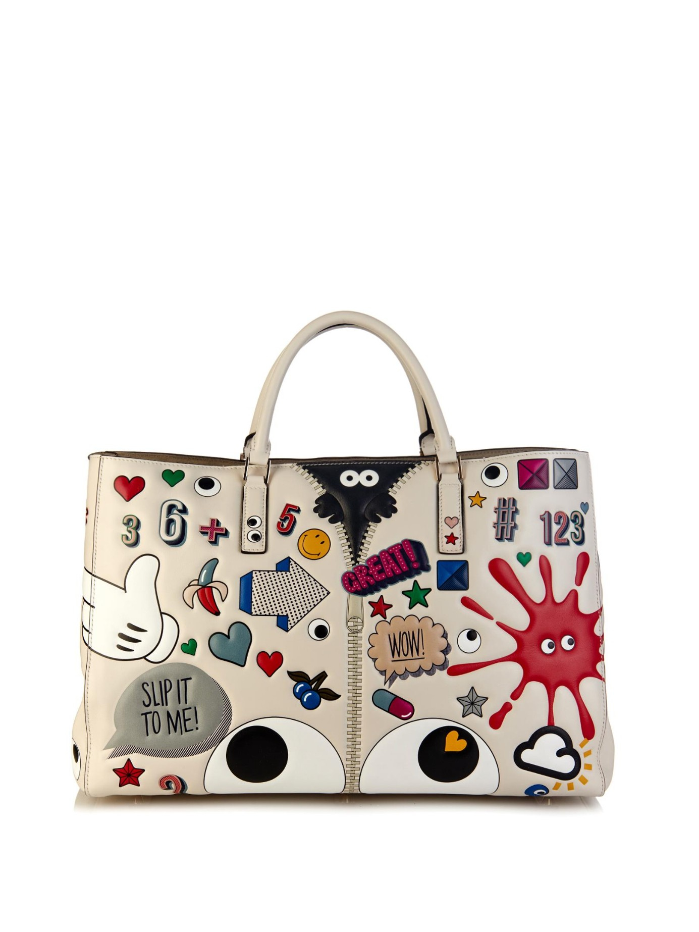 anya hindmarch ebury sticker print leather tote bag in multicolor save 29 lyst. Black Bedroom Furniture Sets. Home Design Ideas