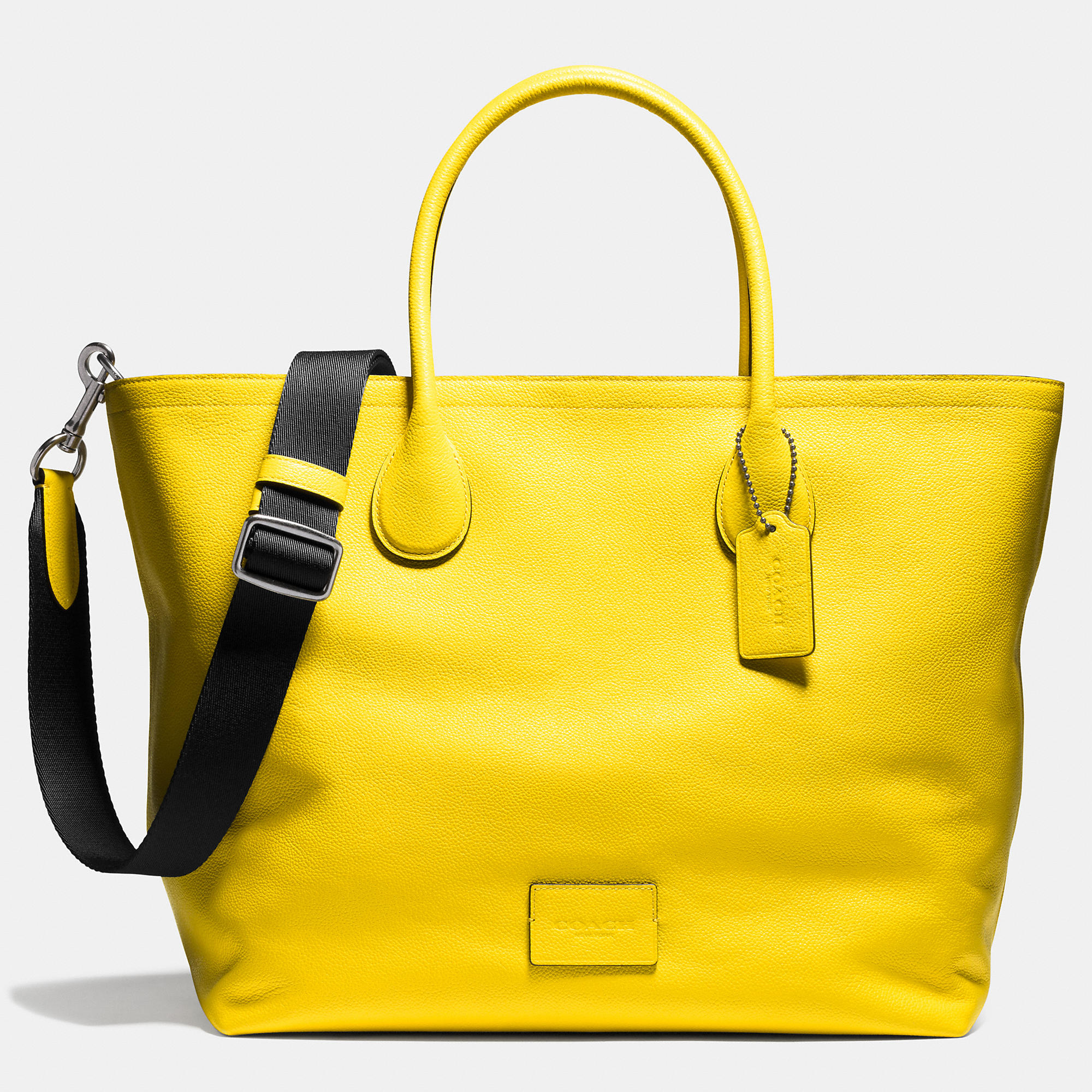 6d77ebe8c70e COACH Mercer Tote 40 In Refined Pebble Leather in Yellow for Men - Lyst
