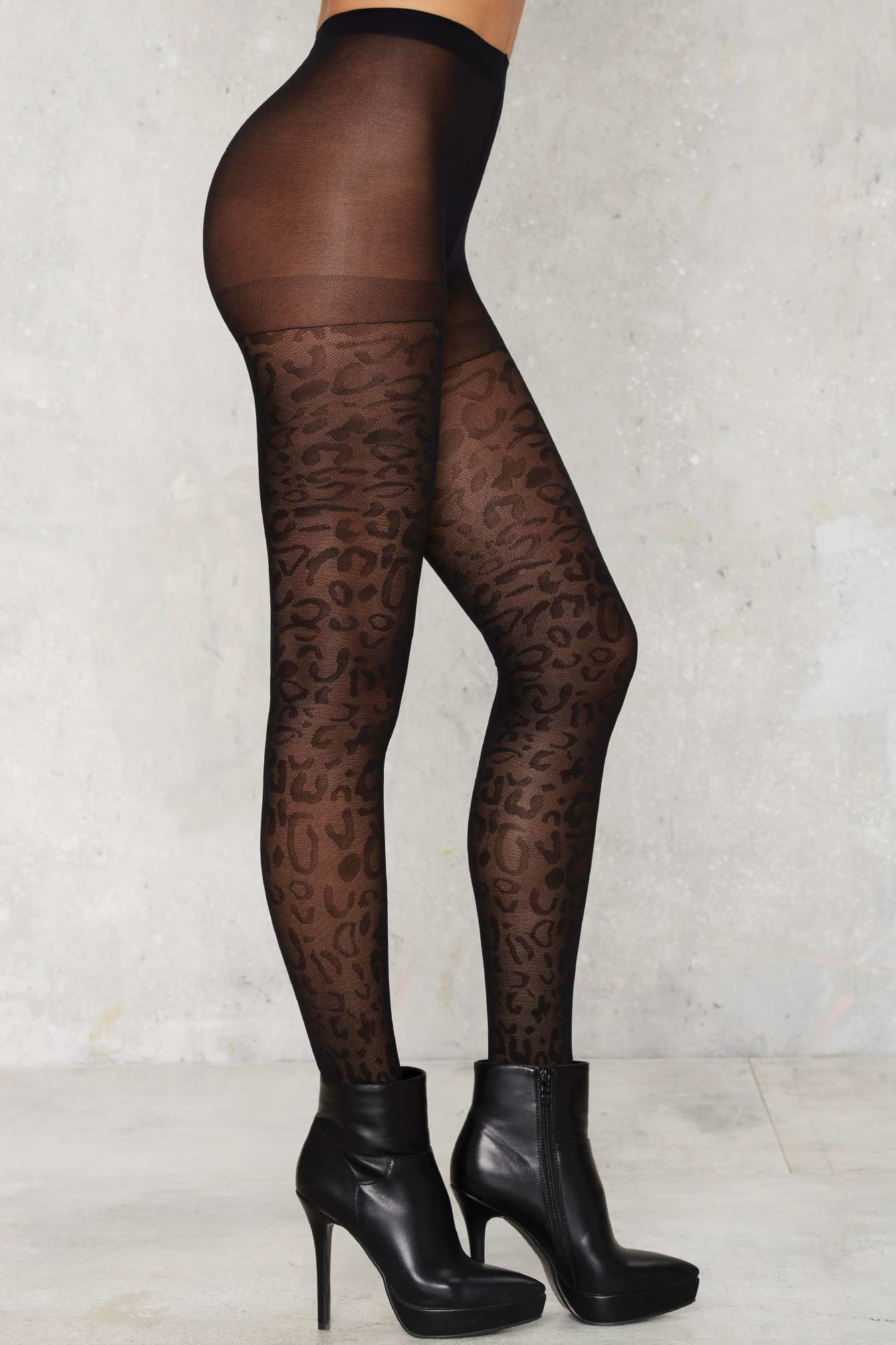 Lyst Nasty Gal Leopard Knock Life Sheer Tights In Black