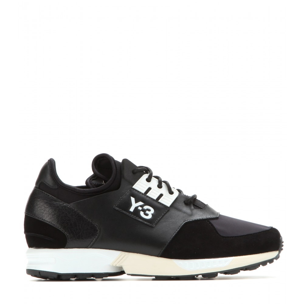 Y-3 Zx Zip Leather And Suede Sneakers in Black