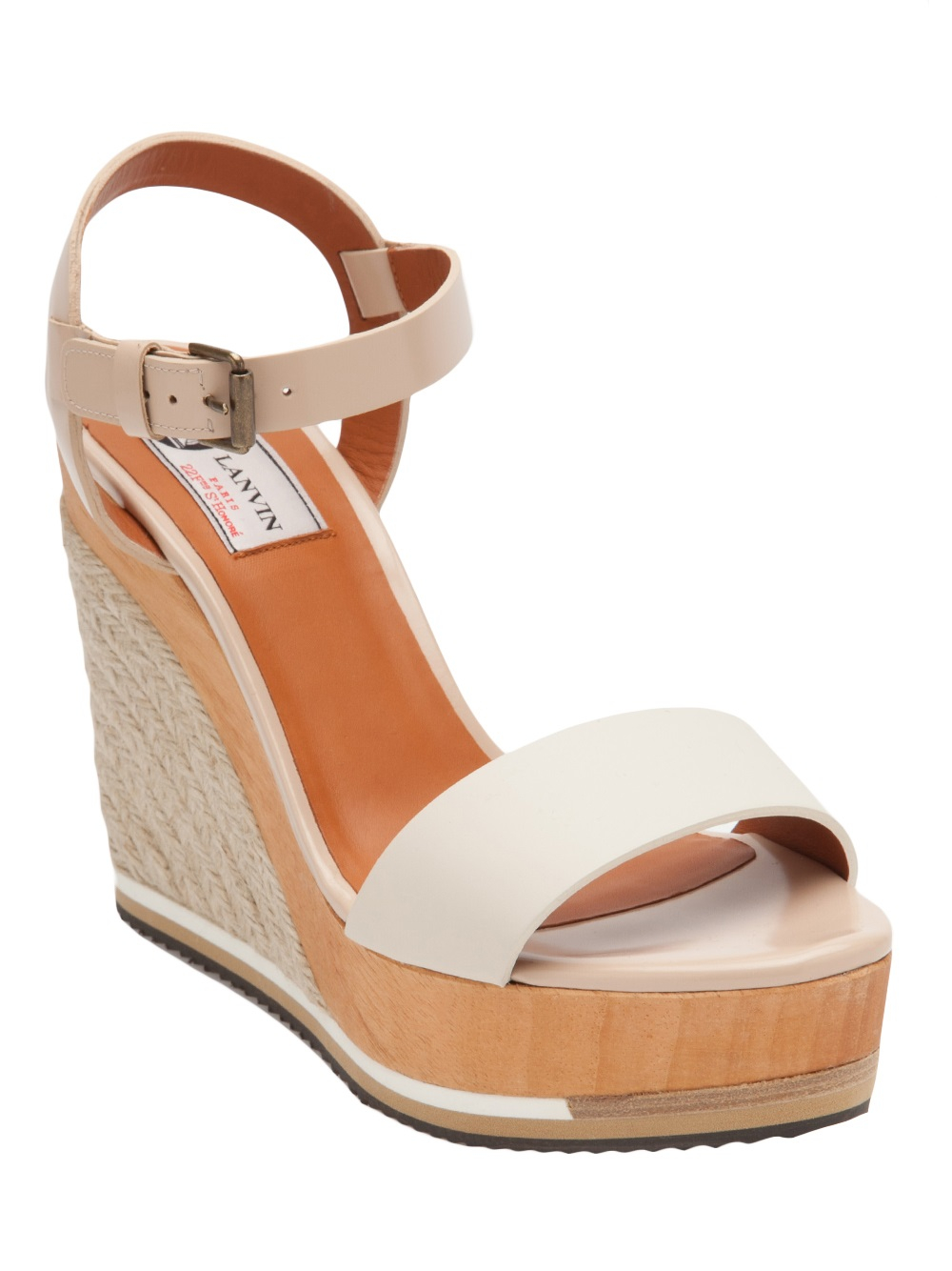 571c76e5459 Lyst - Lanvin Espadrille Wedge in Natural