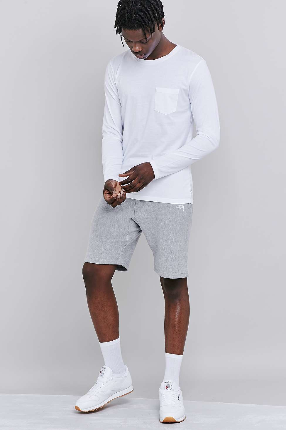 7d5ec17b71 Stussy Gray Stock Fleece Heather Grey Shorts for men