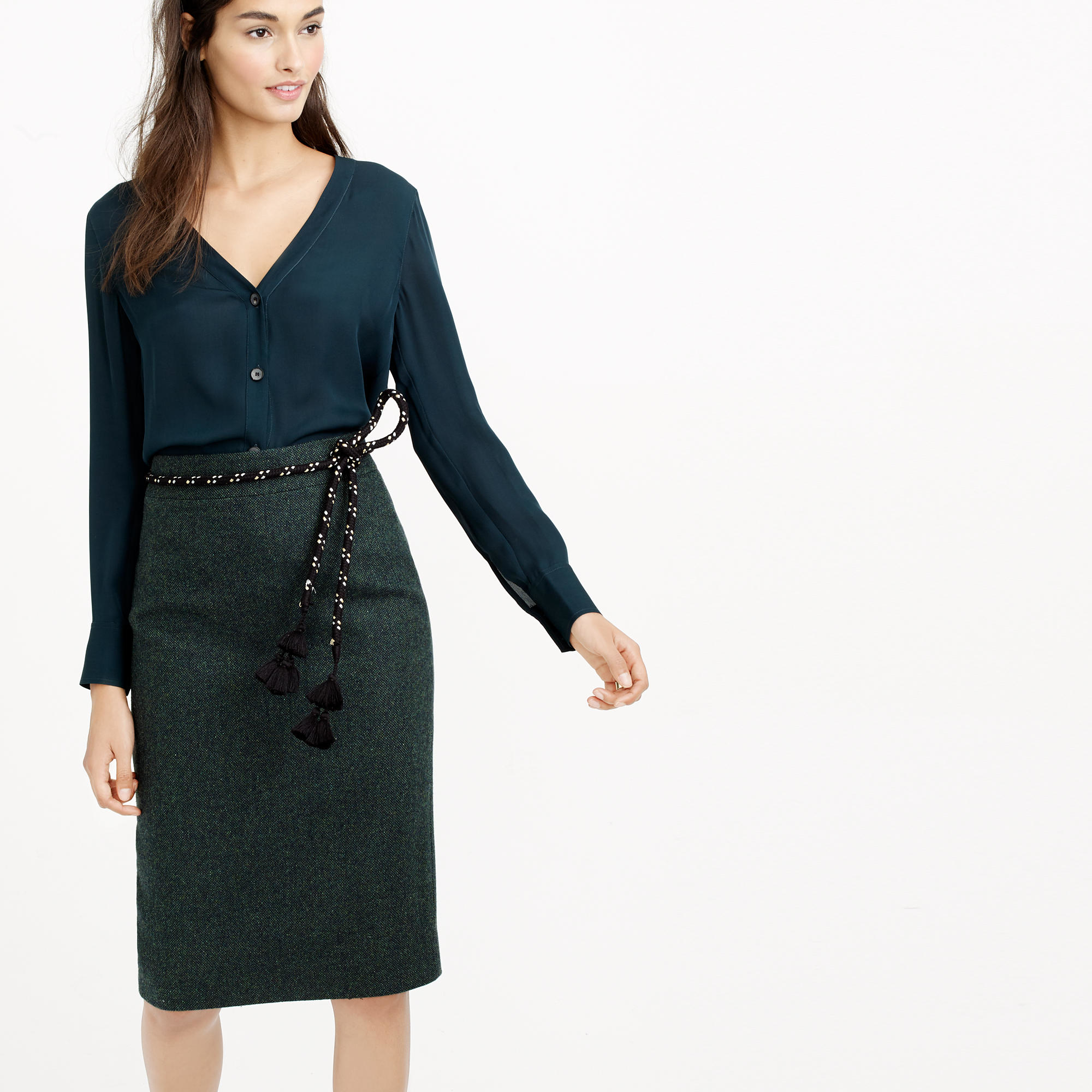 j crew no 2 pencil skirt in donegal wool in green