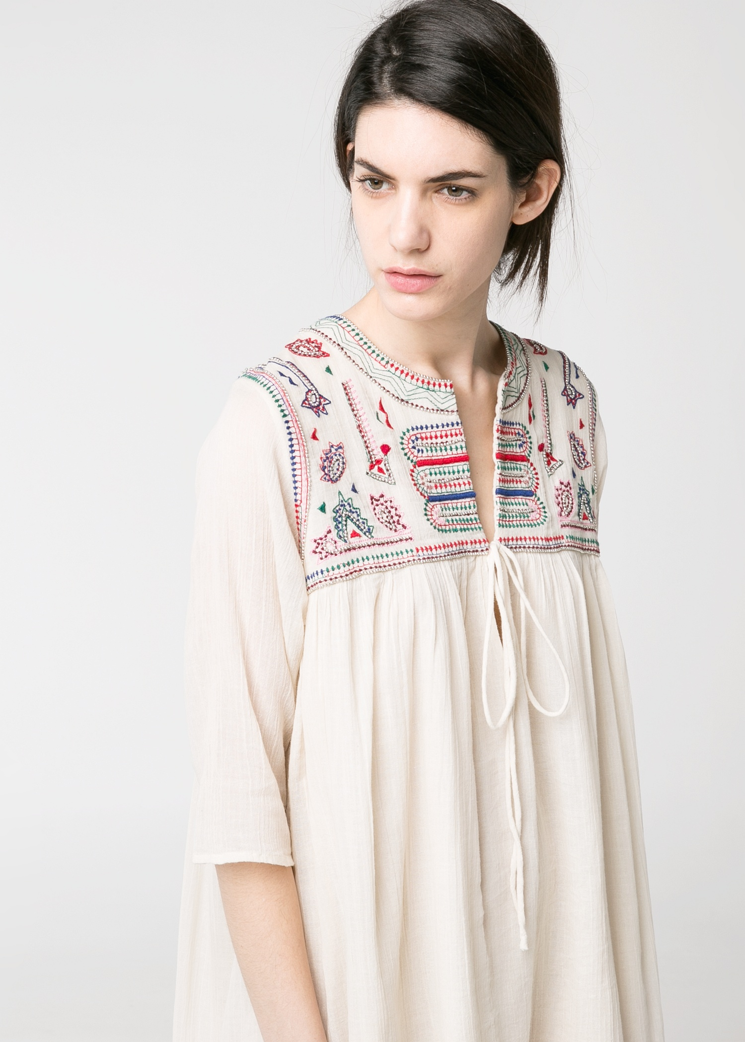 Lyst Mango Beaded Embroidered Dress In White