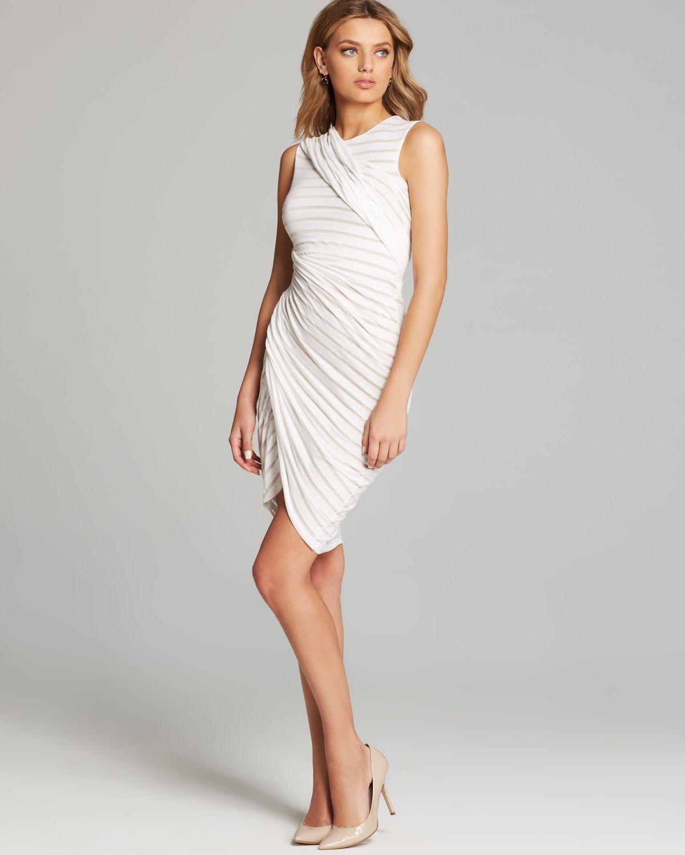 Bailey 44 Dress Tornado Sleeveless Drape Stripe Jersey In White Lyst