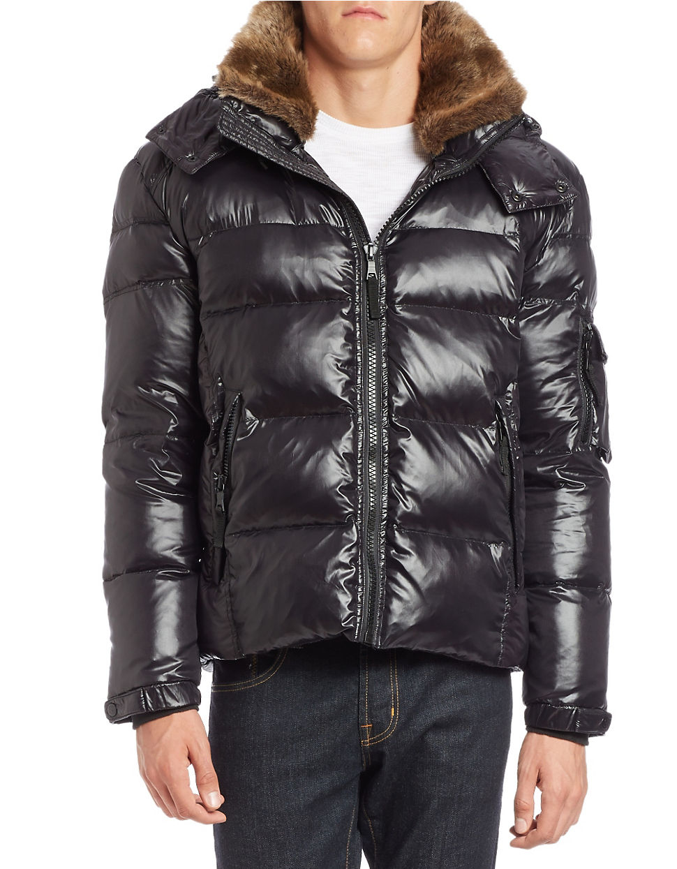 Lyst S13 Nyc Faux Fur Trimmed Puffer Coat In Black For Men