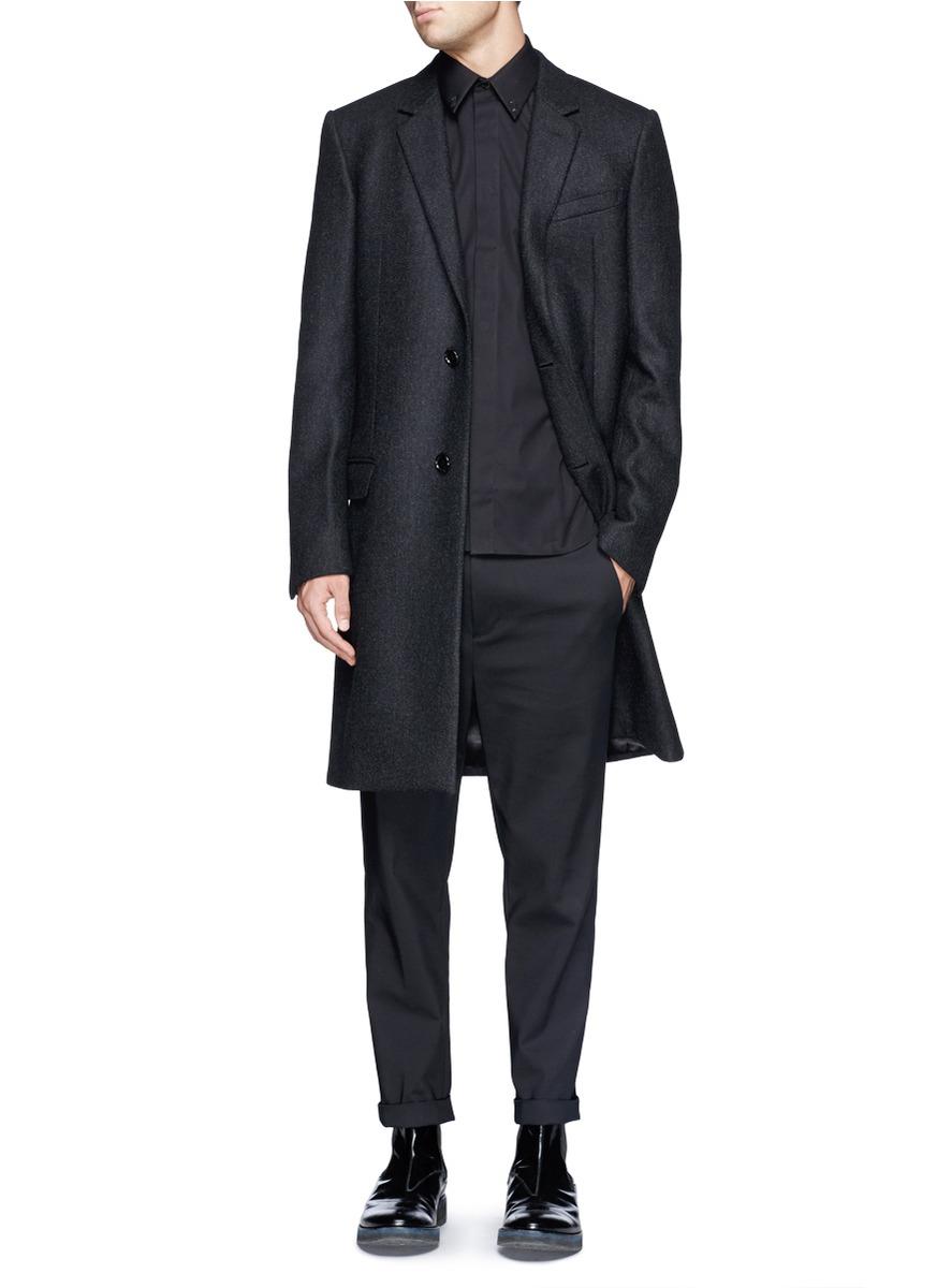 lyst givenchy 39 17 39 metal plate cotton poplin shirt in black for men. Black Bedroom Furniture Sets. Home Design Ideas