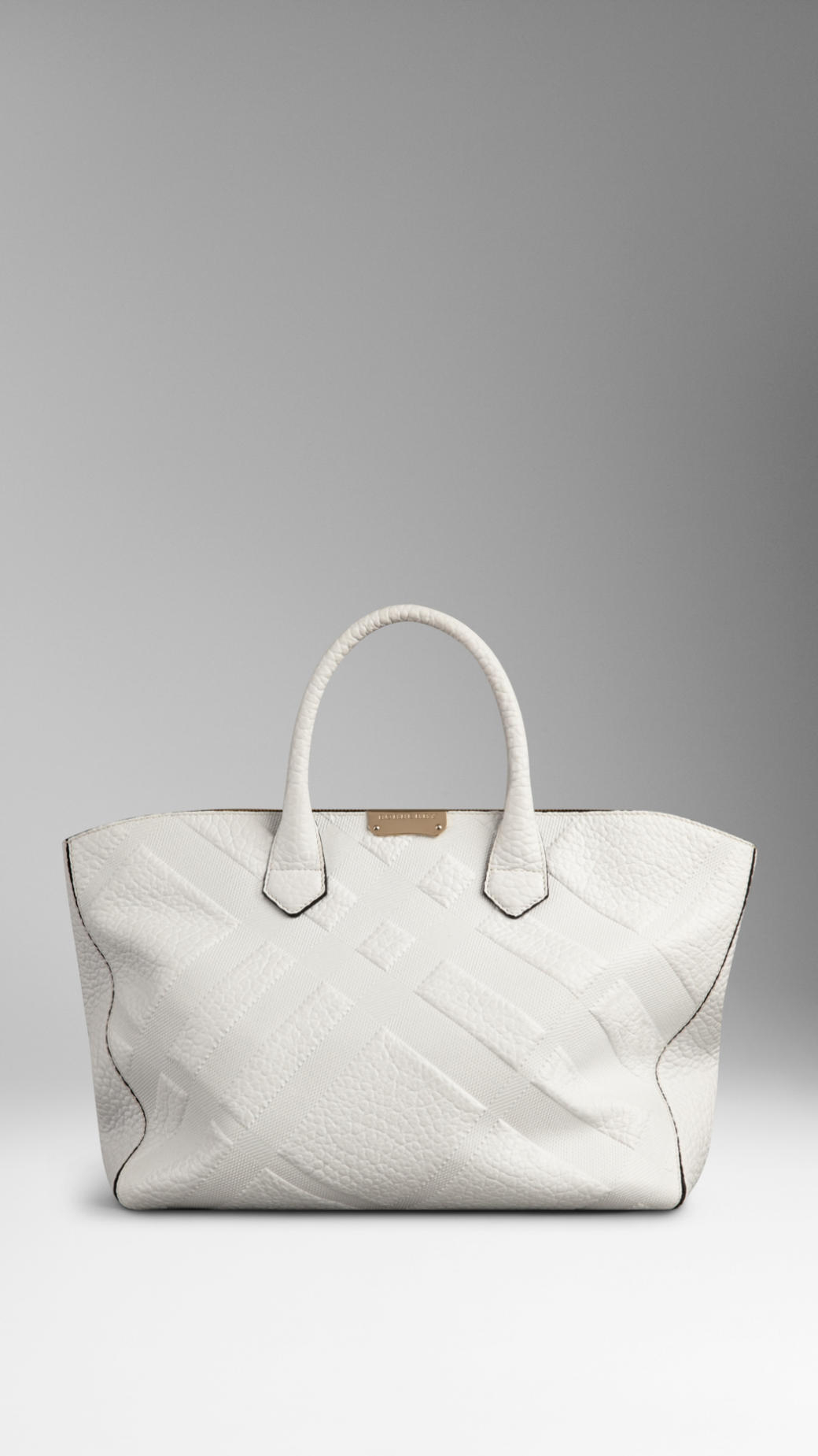 Lyst - Burberry Medium Embossed Check Leather Tote Bag in White 80c1471ca60de