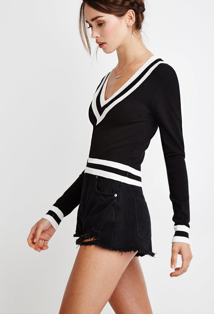 Lyst - Forever 21 Varsity-striped Crop Sweater in Black