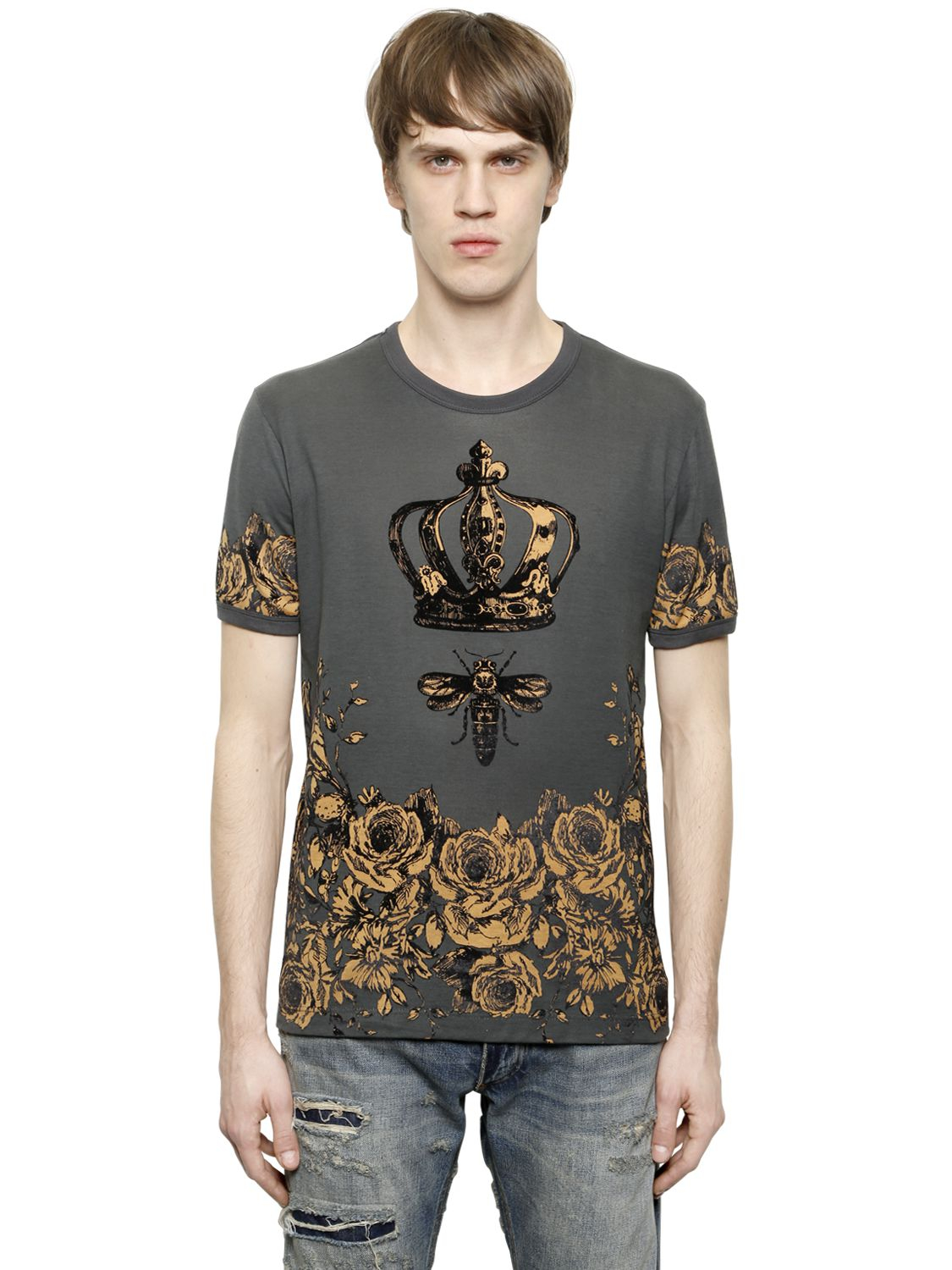 dolce gabbana crown bee flocked cotton t shirt in gray for men lyst. Black Bedroom Furniture Sets. Home Design Ideas