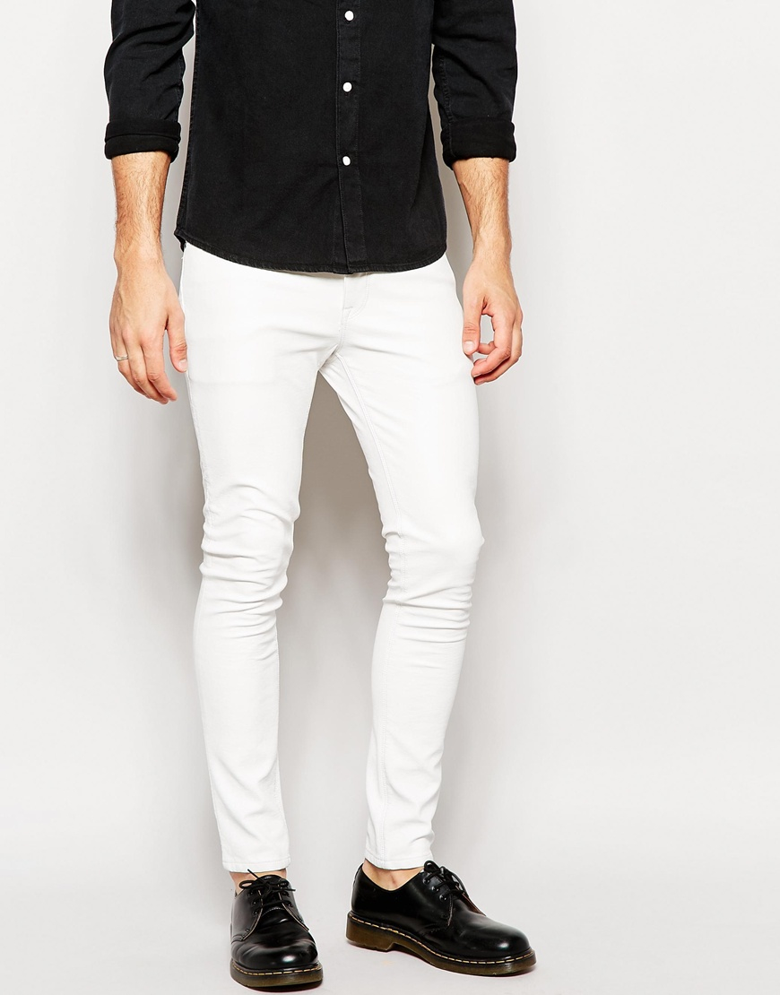 Asos Super Skinny Jeans In Leather Look White in White for Men | Lyst