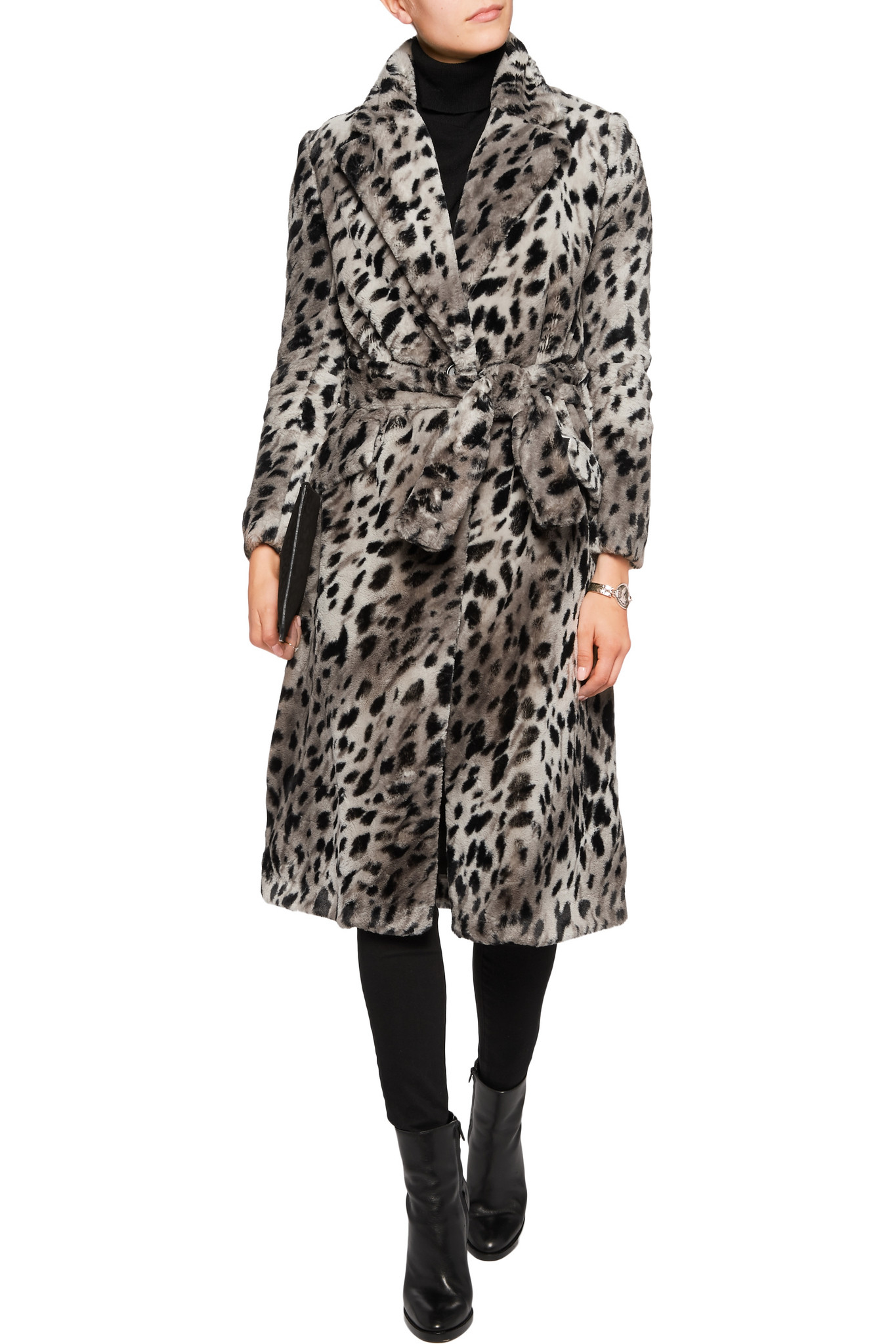Maje Kirikou Leopard Print Faux Fur Coat In Gray Lyst