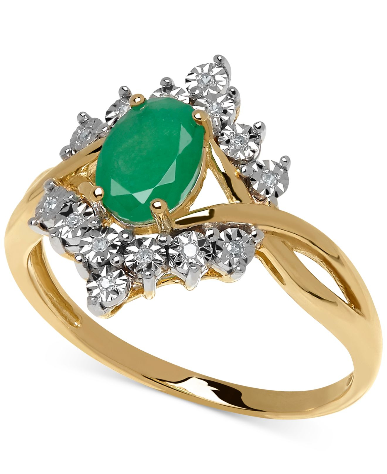 macy s emerald 7 8 ct t w and accent ring in
