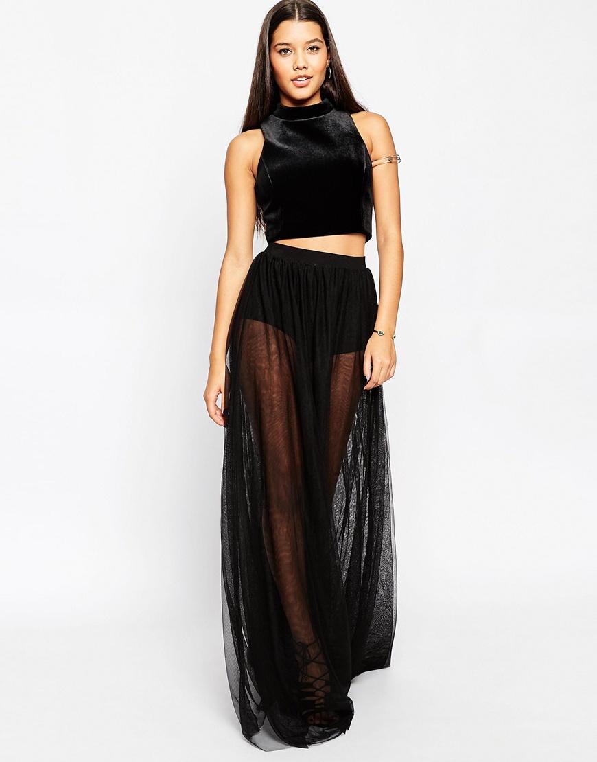 Lyst Asos Sheer Maxi Skirt With Knicker Short In Black
