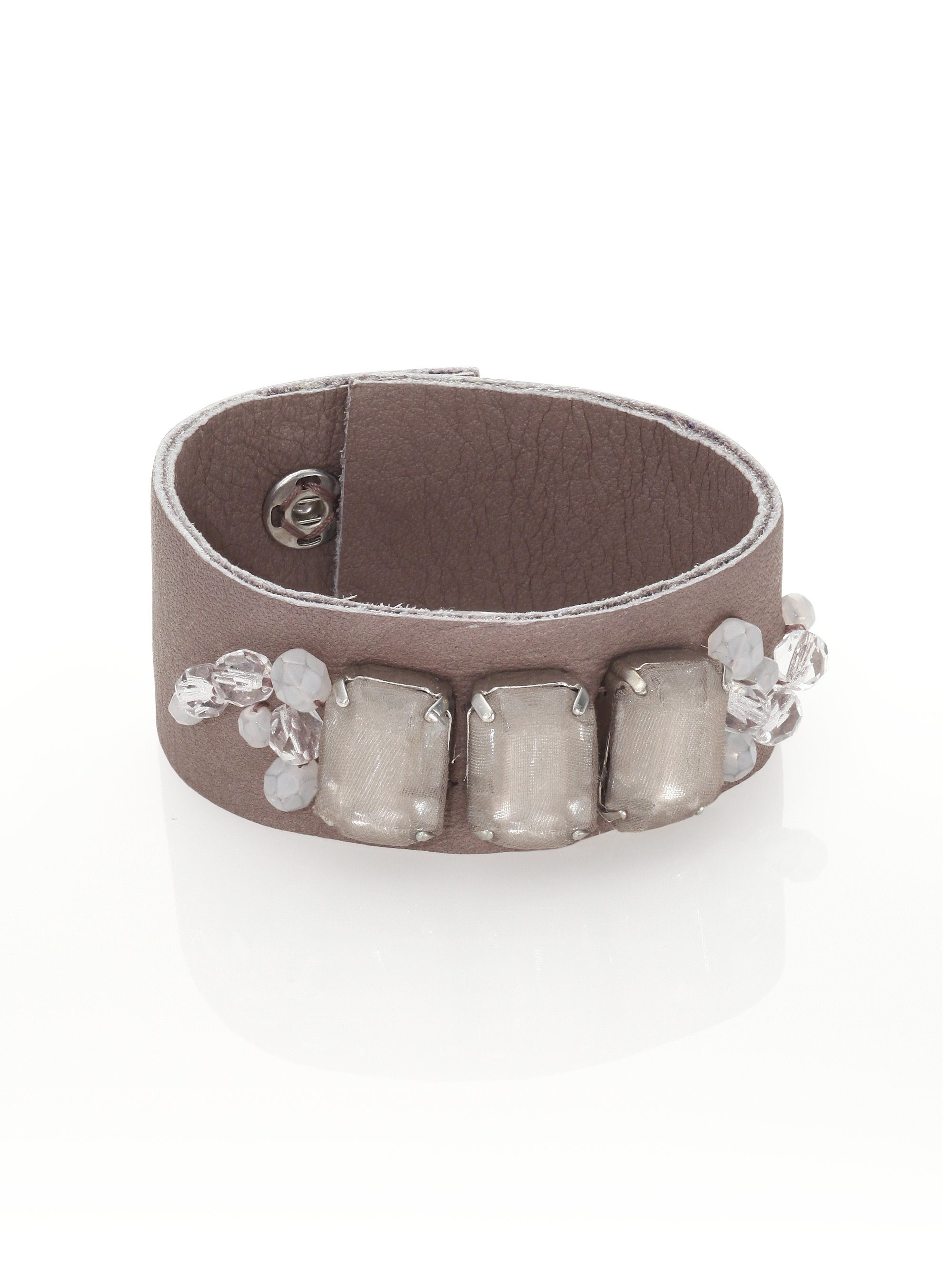 peserico leather beaded cuff bracelet in lyst