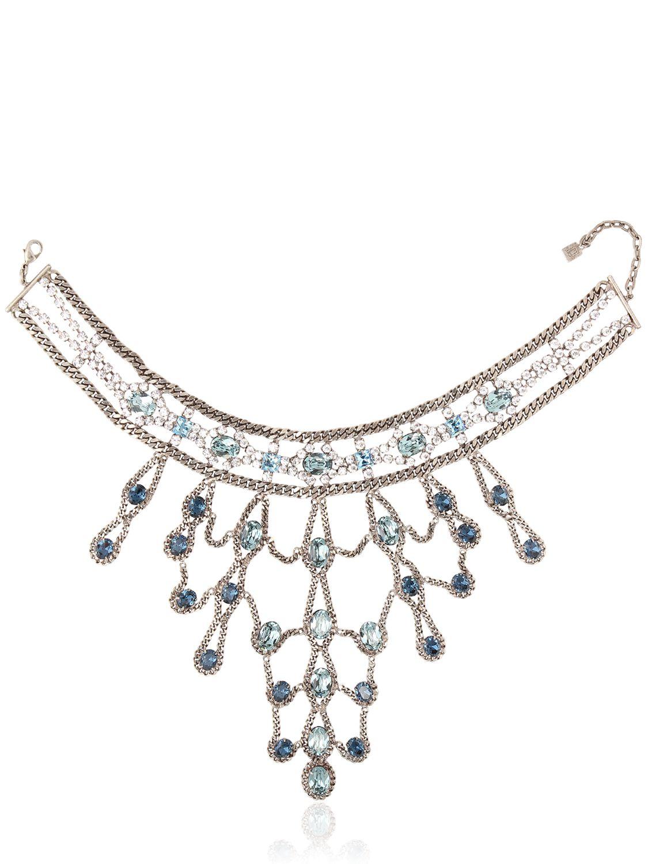 DANNIJO Farrah Necklace in Silver/Blue (Blue)