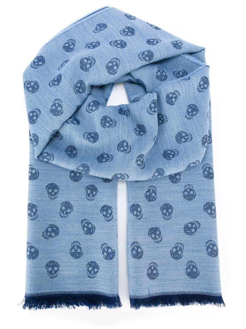 Knitting Pattern Skull Scarf : Alexander mcqueen skull Knit Scarf in Blue for Men Lyst