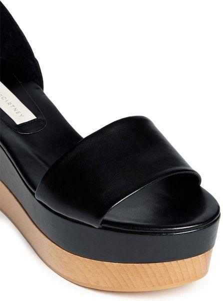 Stella Mccartney Ankle Strap Flatform Sandals In Black Lyst