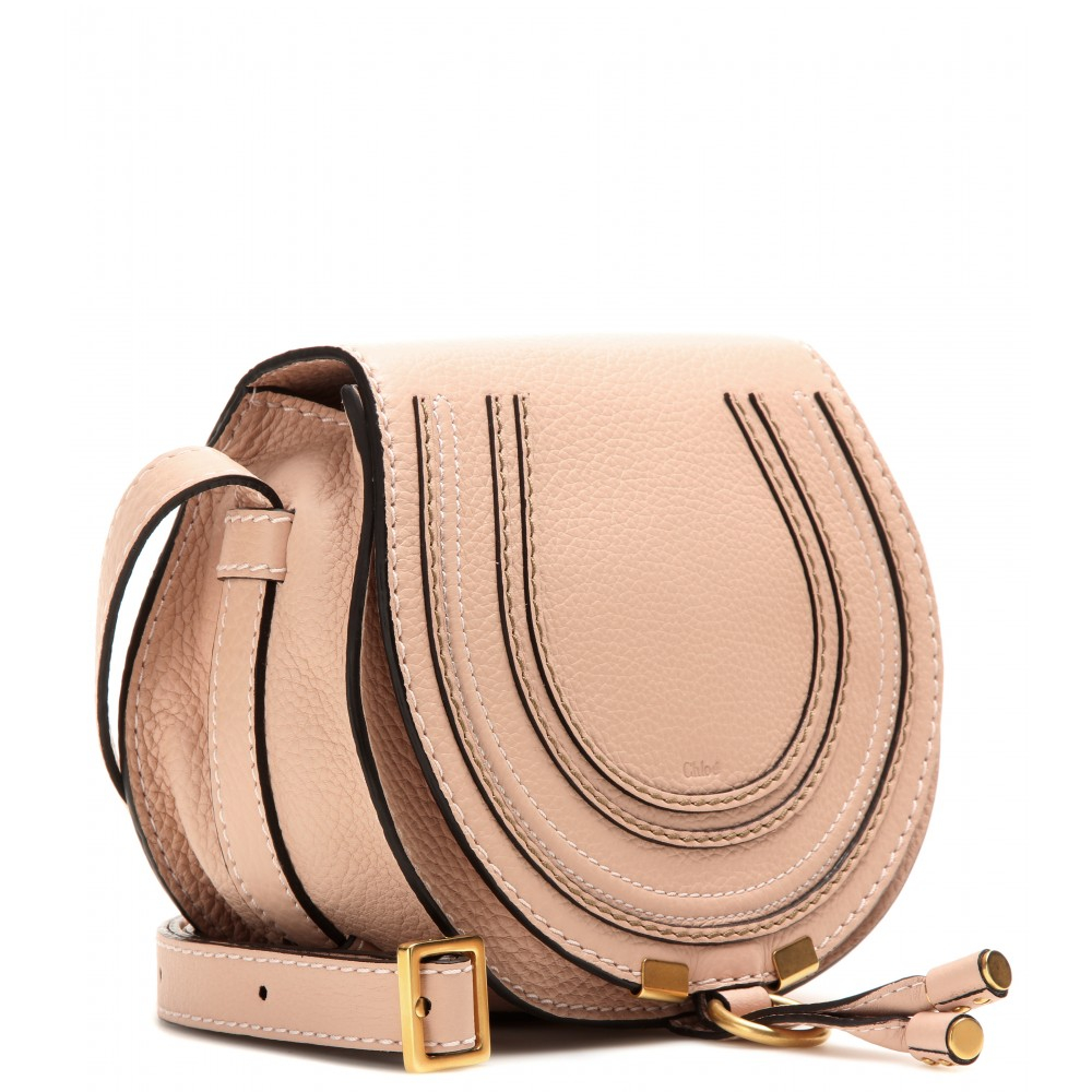 Chlo�� Marcie Leather Shoulder Bag in Pink (blush nude height 16cm ...