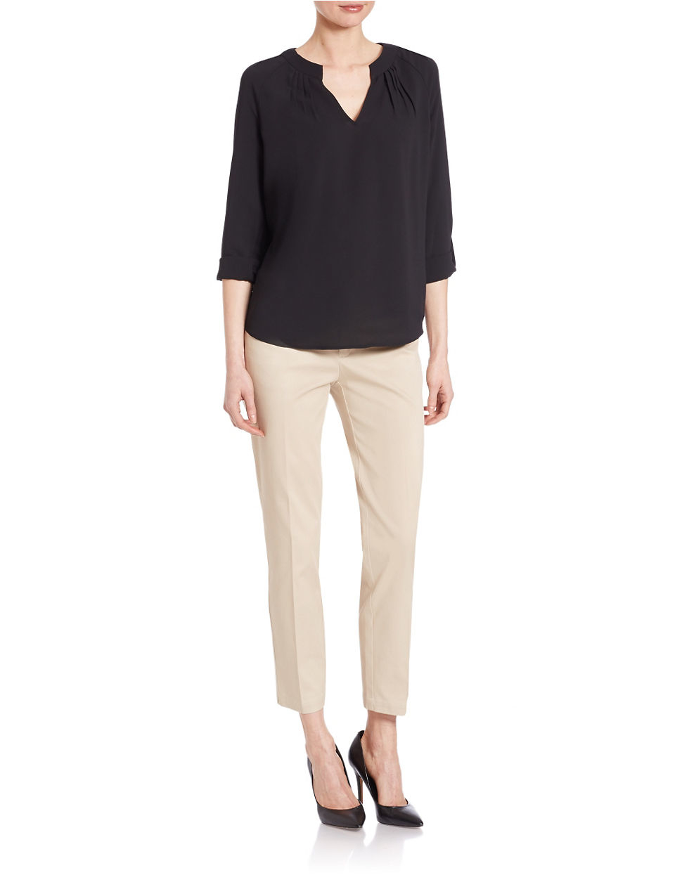 Lord Taylor Pleated Blouse In Black Lyst