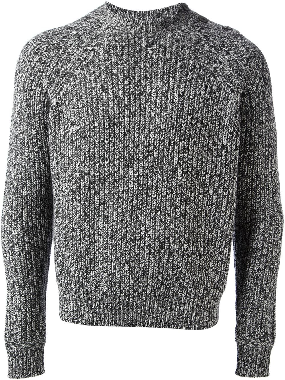Lyst Carven Thick Knit Sweater In Black For Men