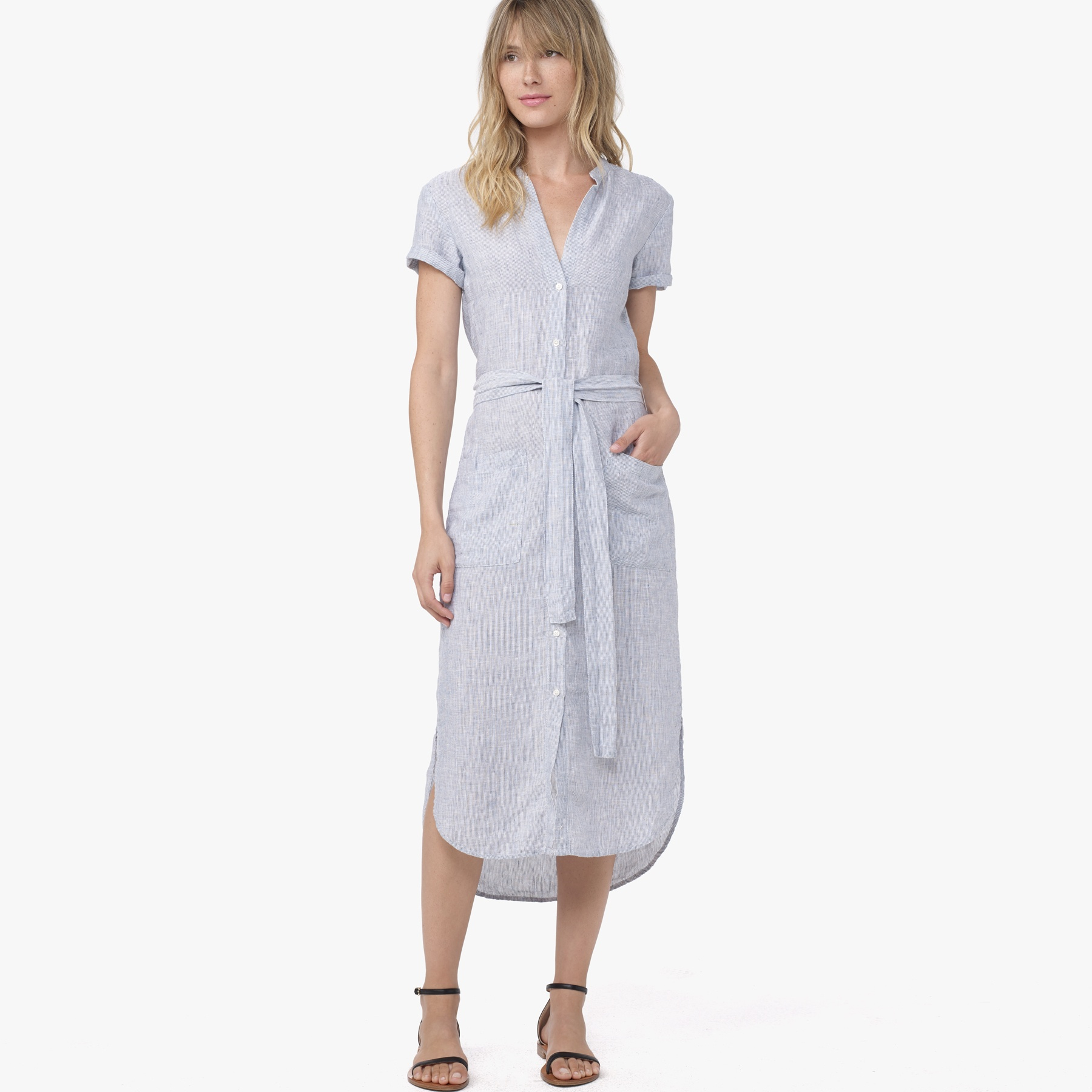 1dab3582649c James Perse Linen Stripe Shirt Dress in Blue - Lyst