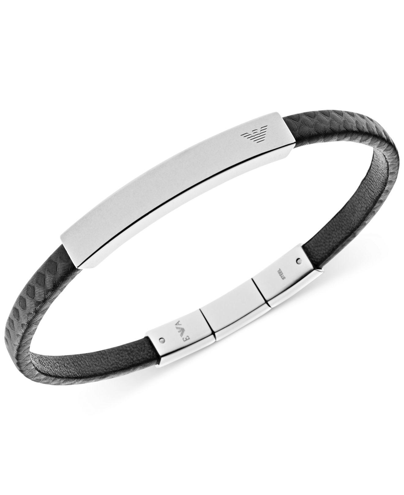 1e5ba2ef5 Emporio Armani Men's Stainless Steel And Black Leather Logo Bracelet ...