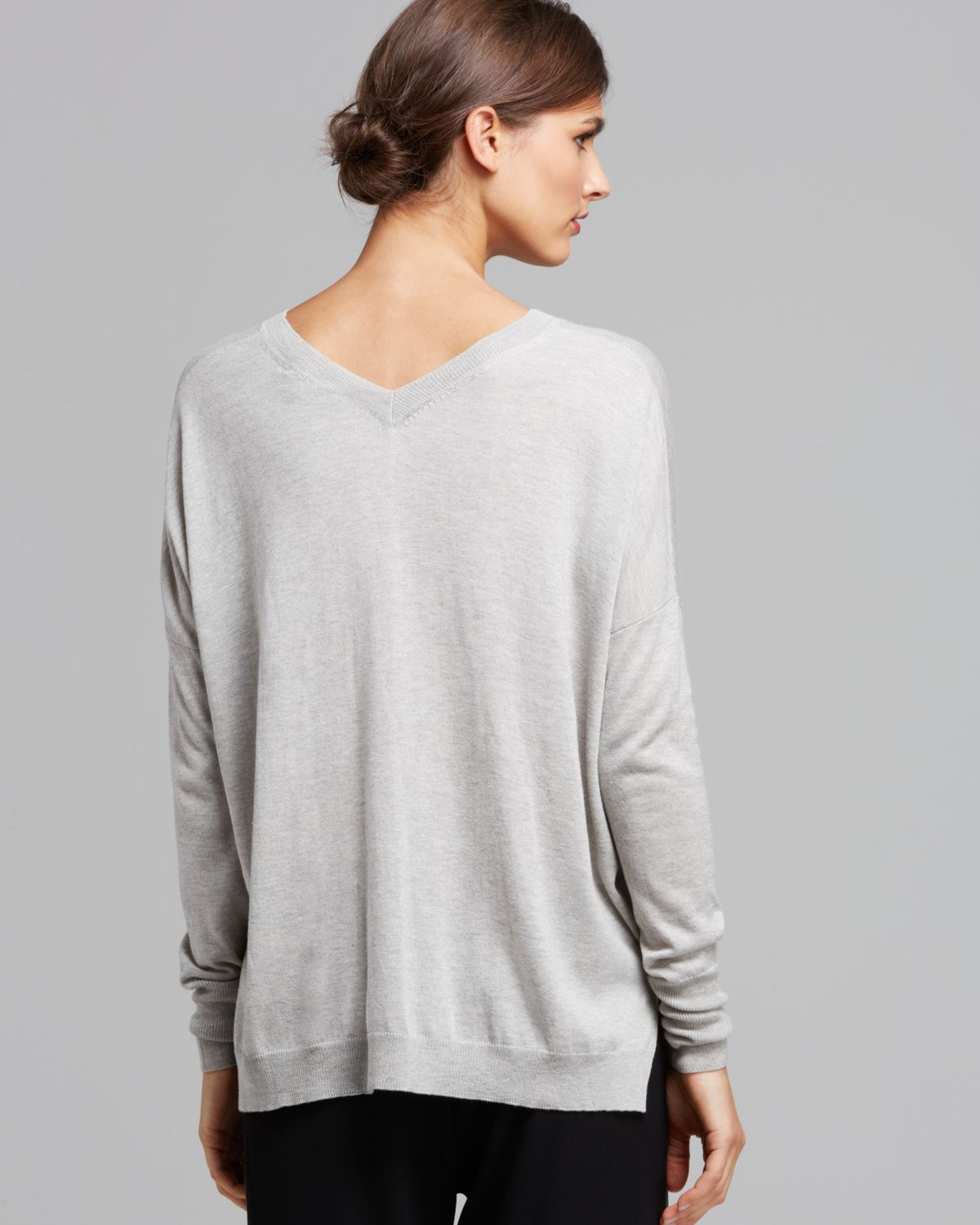 Vince Sweater Double V Silk Cashmere in Gray | Lyst