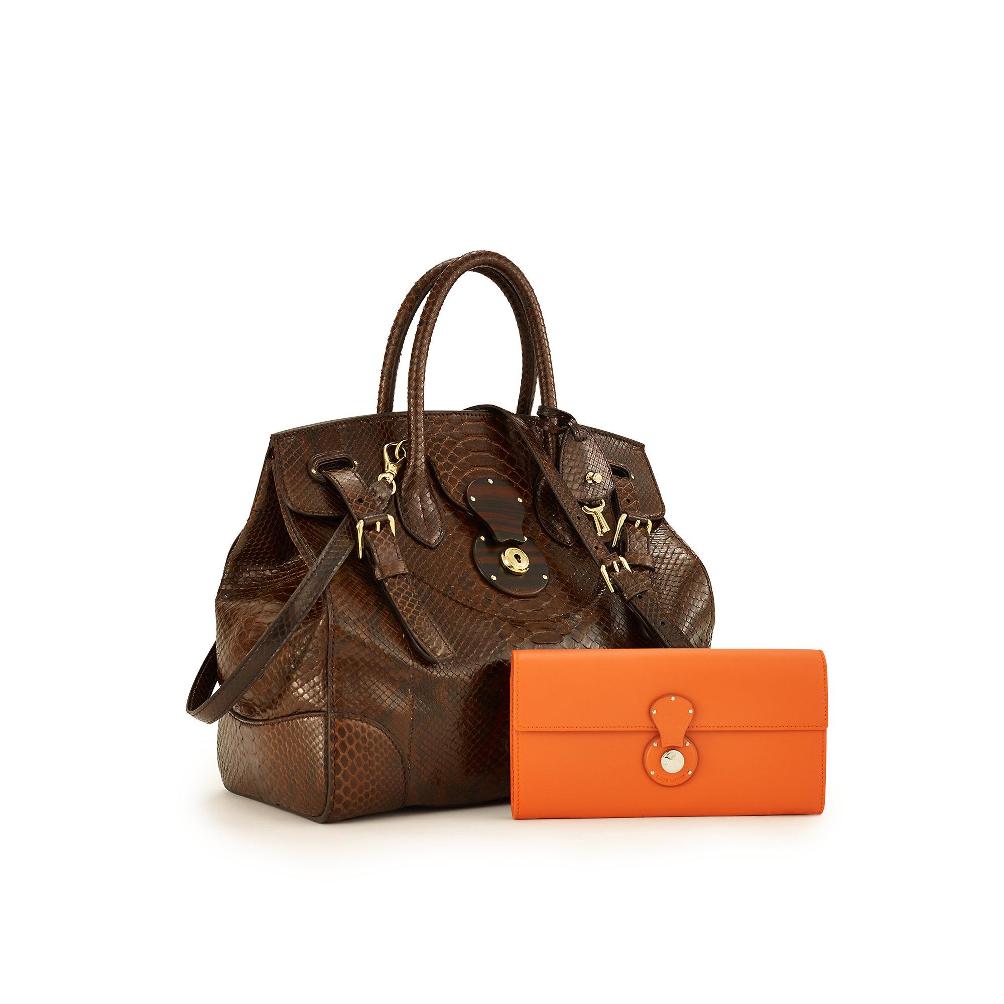 Lyst - Ralph Lauren Python Soft Ricky Bag in Brown f138137952