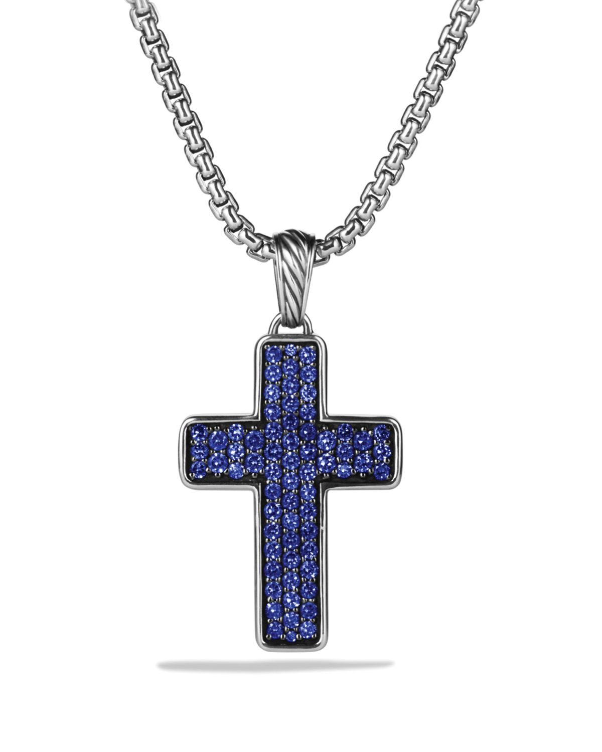 David Yurman Chevron Cross With Blue Sapphires On Chain In