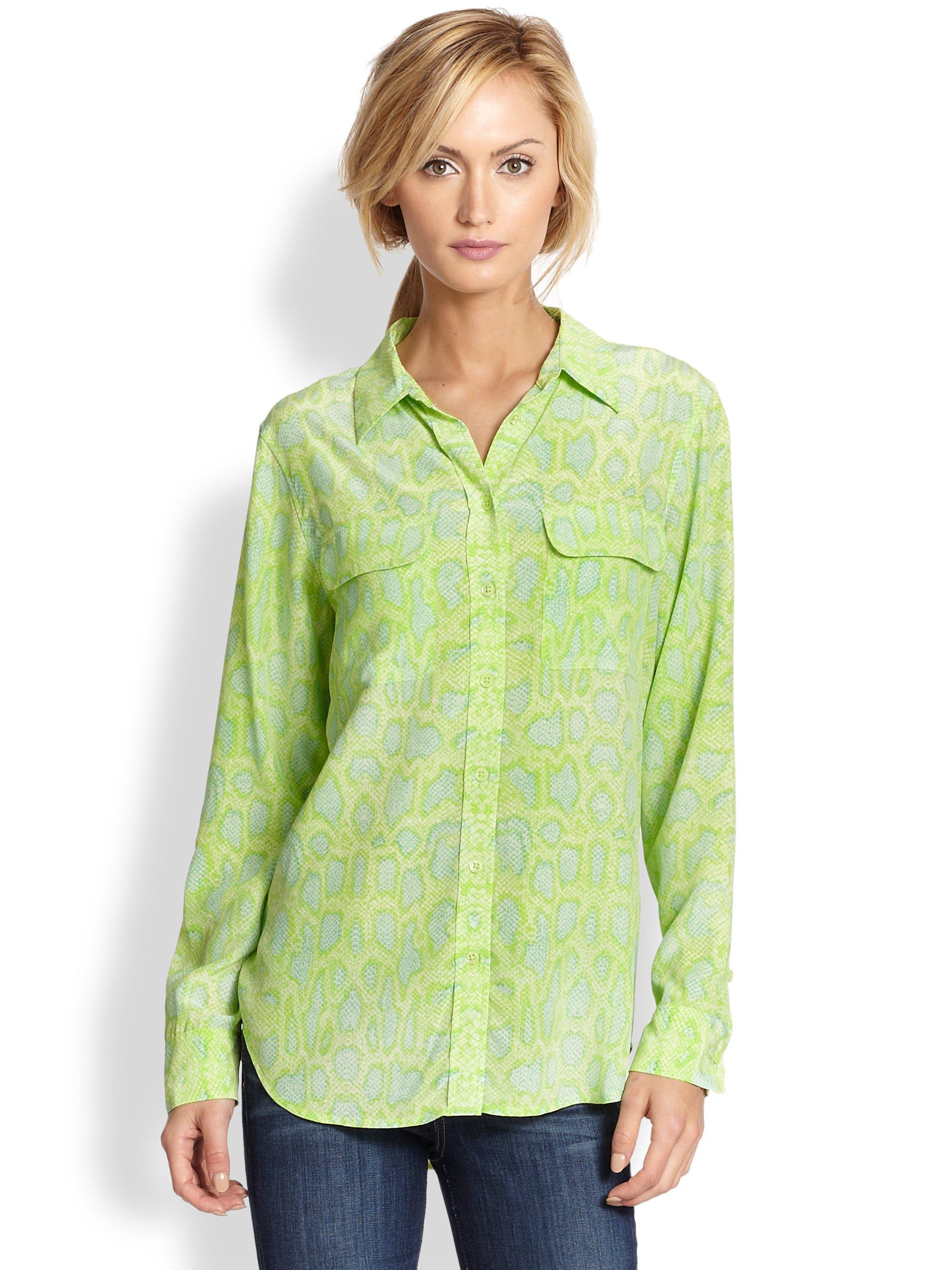 Equipment slim signature snake print silk shirt in green for Equipment signature silk shirt