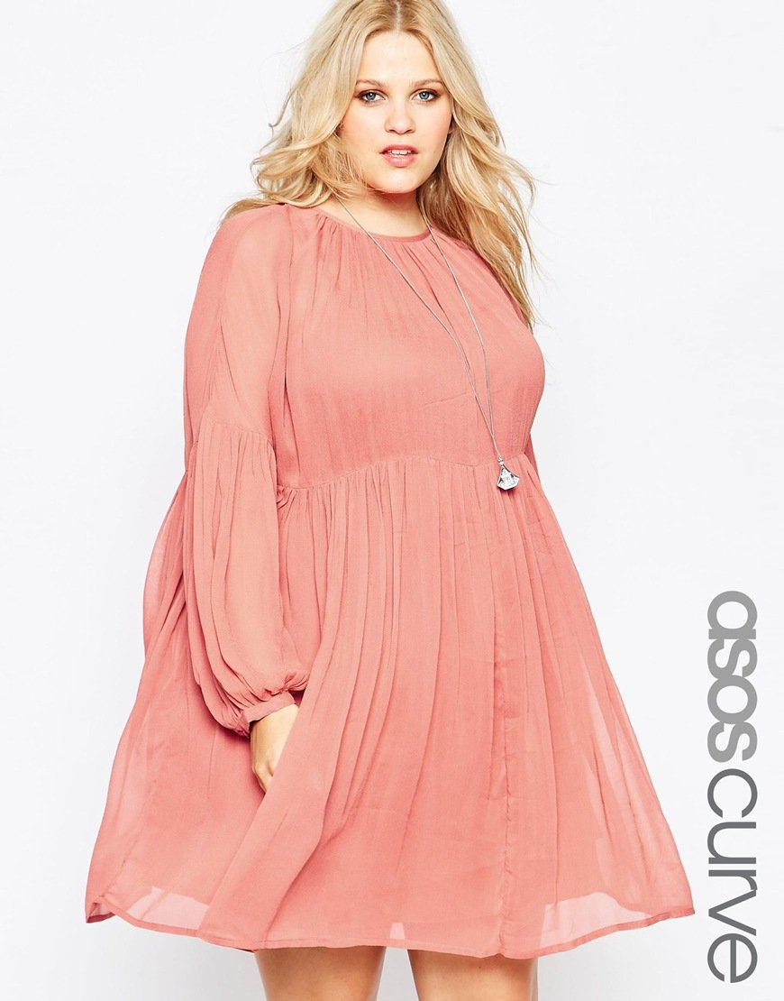 ASOS Curve Soft Babydoll Dress in Pink - Lyst