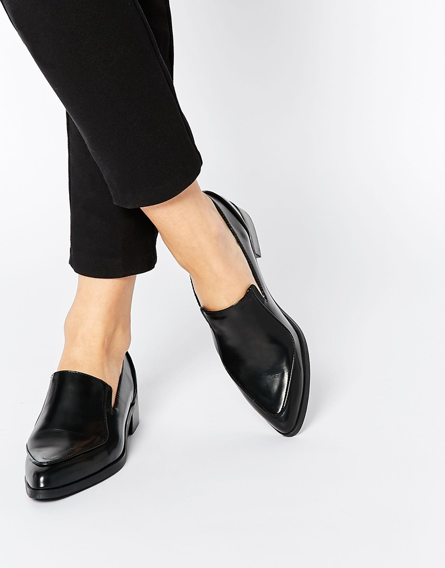 asos pointed flat shoes in black lyst