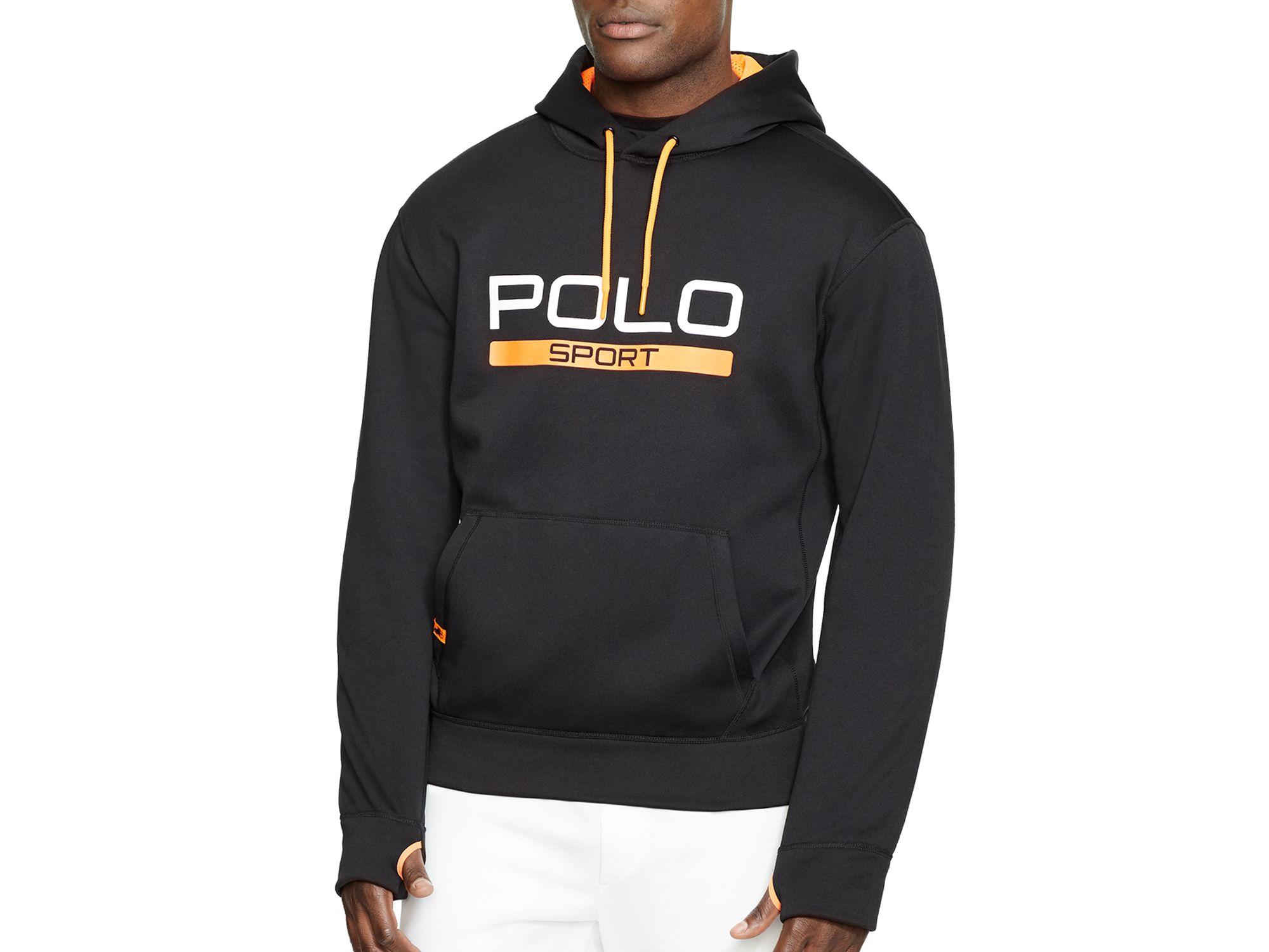 cff07275 Polo Ralph Lauren Black Polo Sport Tech Fleece Hoodie for men