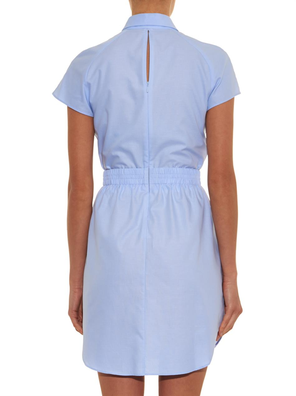 Carven Oxford Cotton Shirt Dress in Blue | Lyst