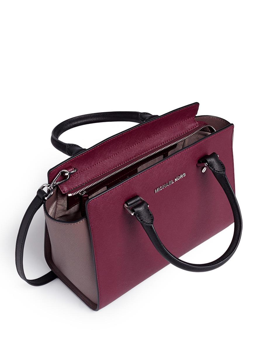 efd67b8e59 ... discount code for michael kors selma medium saffiano leather satchel in  red lyst 9f319 10c61