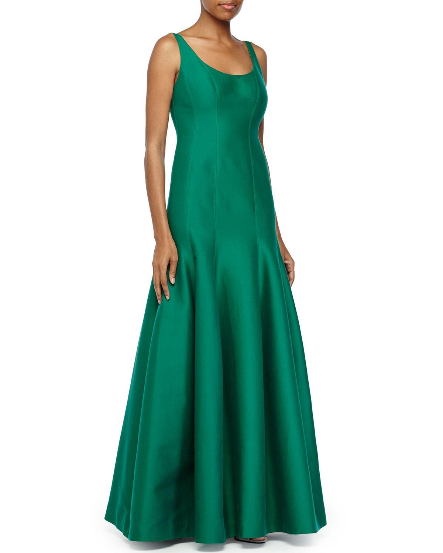 Lyst - Halston Tulip-Skirt Sleeveless Gown in Green