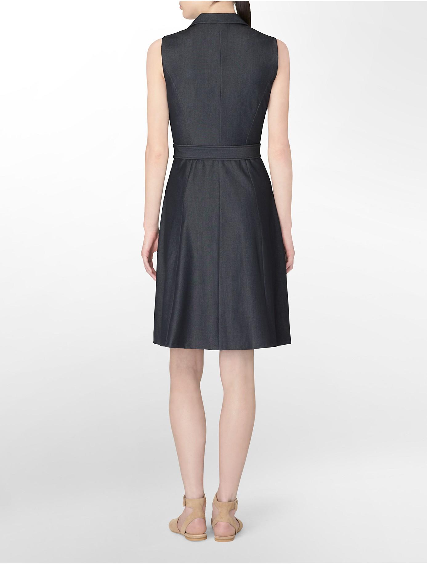 Calvin Klein White Label Sleeveless Wrap Style Belted