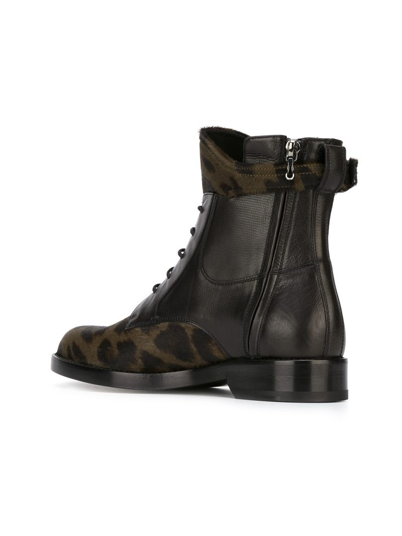 lanvin lace up leopard boots in black lyst
