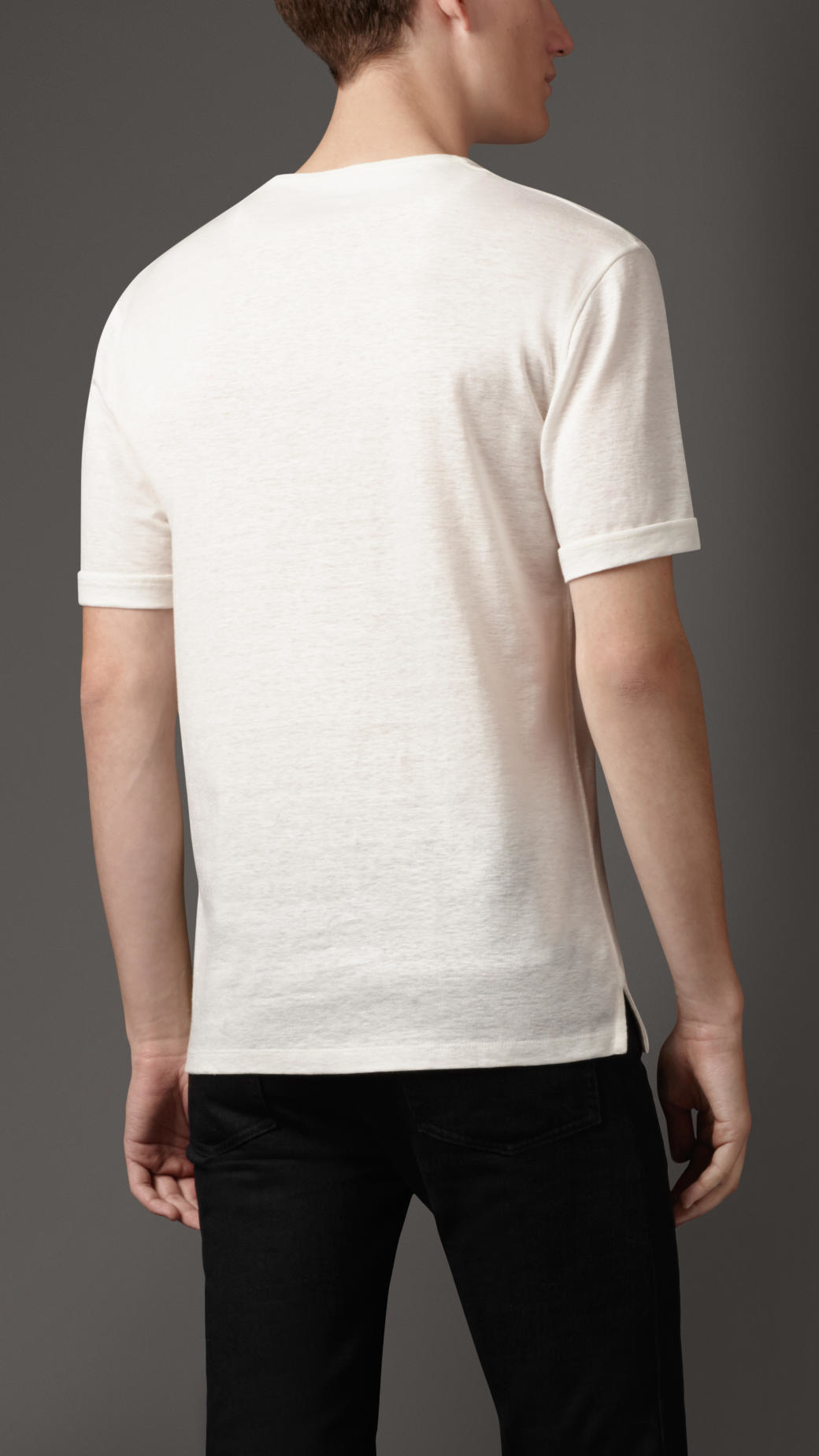 lyst burberry linen and cotton t shirt in white for men. Black Bedroom Furniture Sets. Home Design Ideas