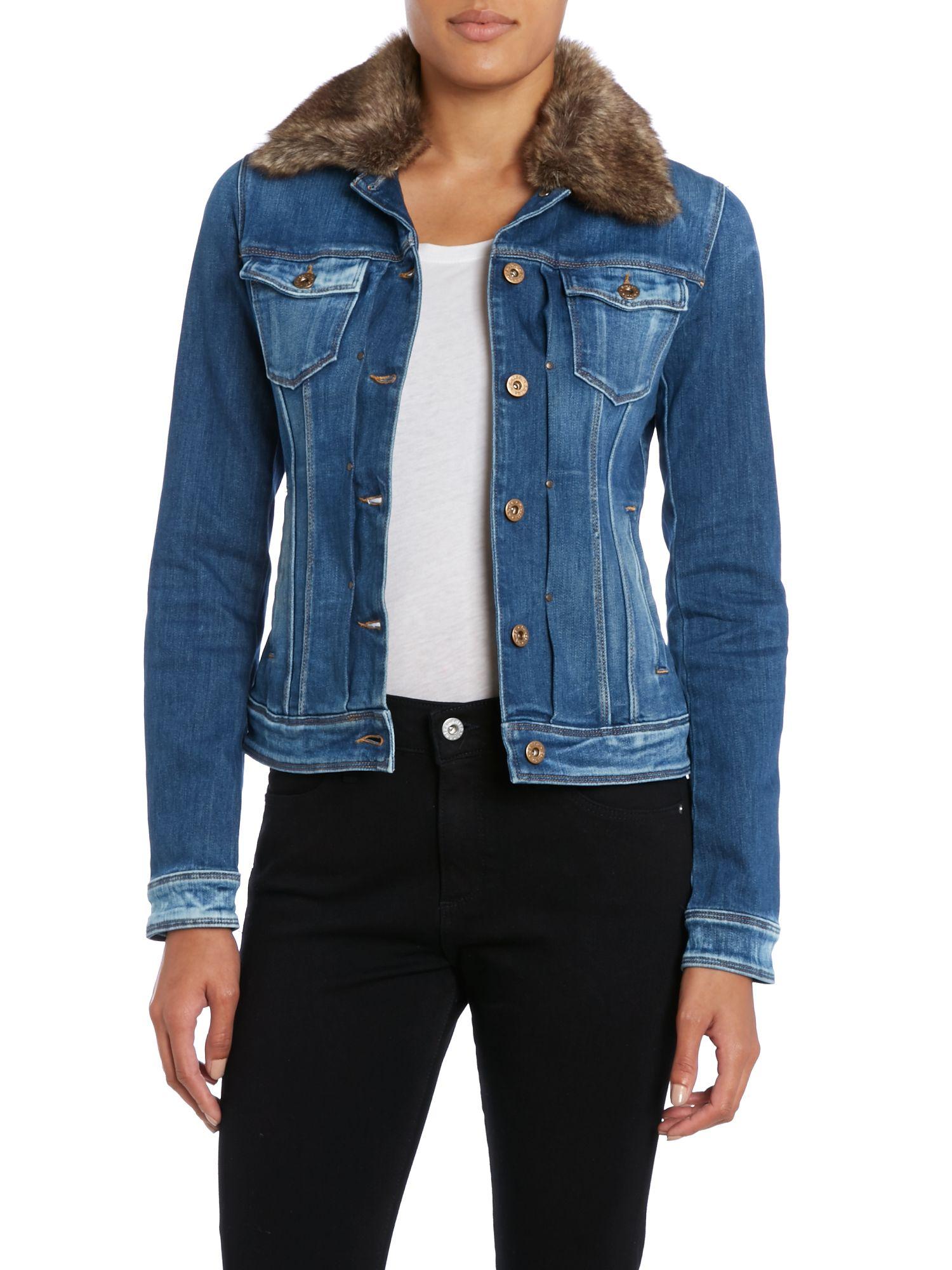 Salsa Denim Jacket With Faux Fur Collar In Denim Mid Wash