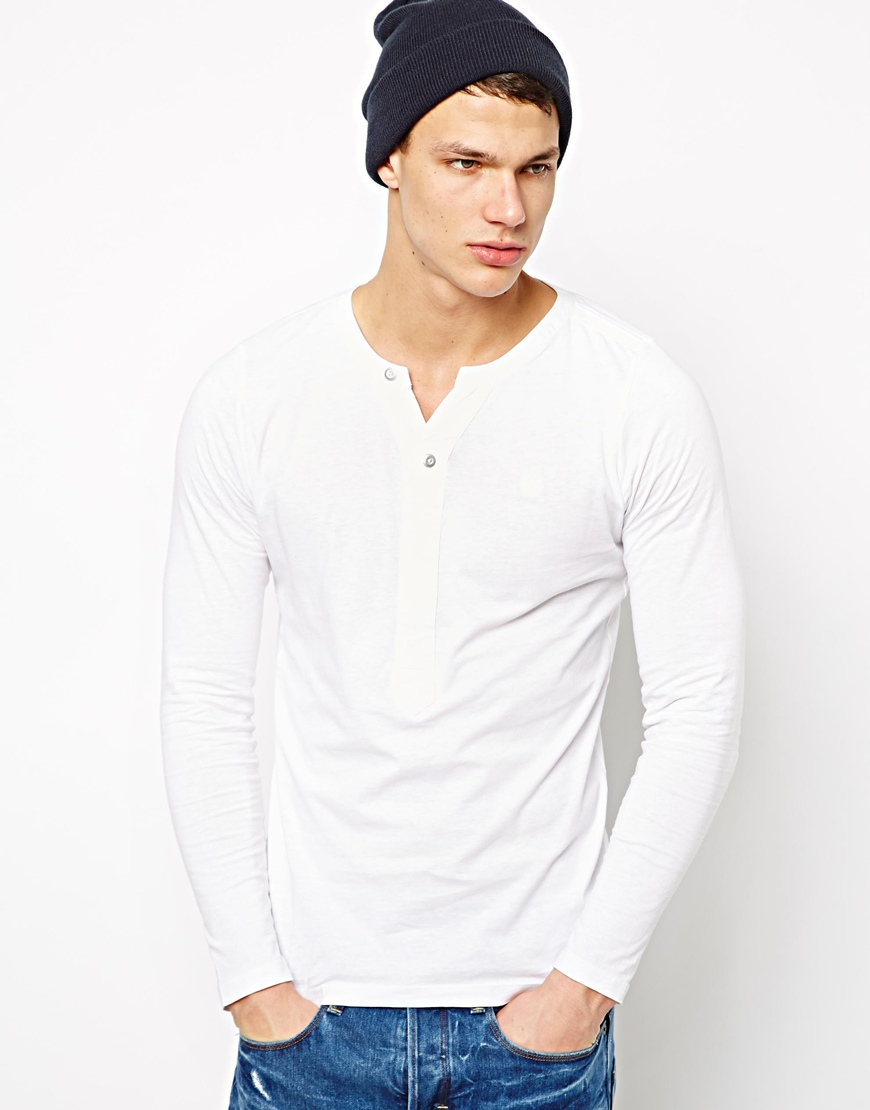 Lyst G Star Raw G Star Long Sleeve Henley Top In White